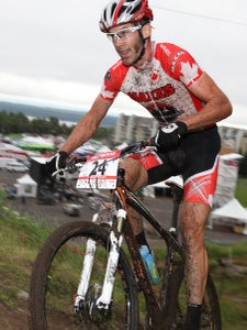 Canadian XC champion Geoff Kabush hung on for a strong third-place finish.