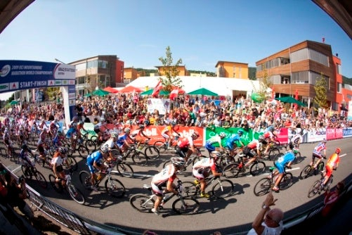 The men's marathon course covered 64 miles and threw about 12,000 feet of climbing and descending at riders. Photo courtesy UCI