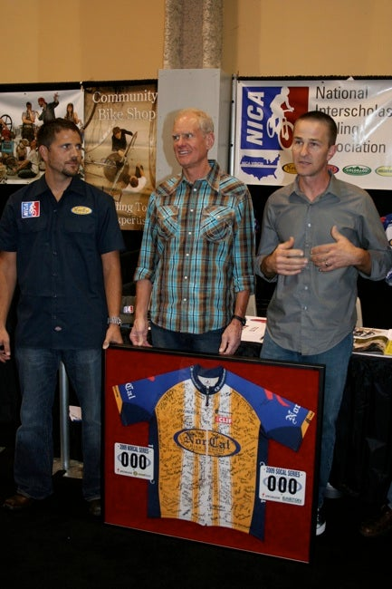 Matt Fritzinger, Mike Sinyard and Ben Capron announce the launch of the National Interscholastic Cycling Association during Interbike 2009.