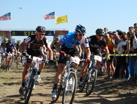 Jeremy Horgan-Kobelski, center, leads Lance Armstrong at the start of the first Mellow Classic on Armstrong's Texas ranch in November. Photo by Ian Dille