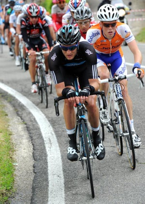 Team Sky's Steven Cummings takes a pull at the front of the 17-man breakaway.
