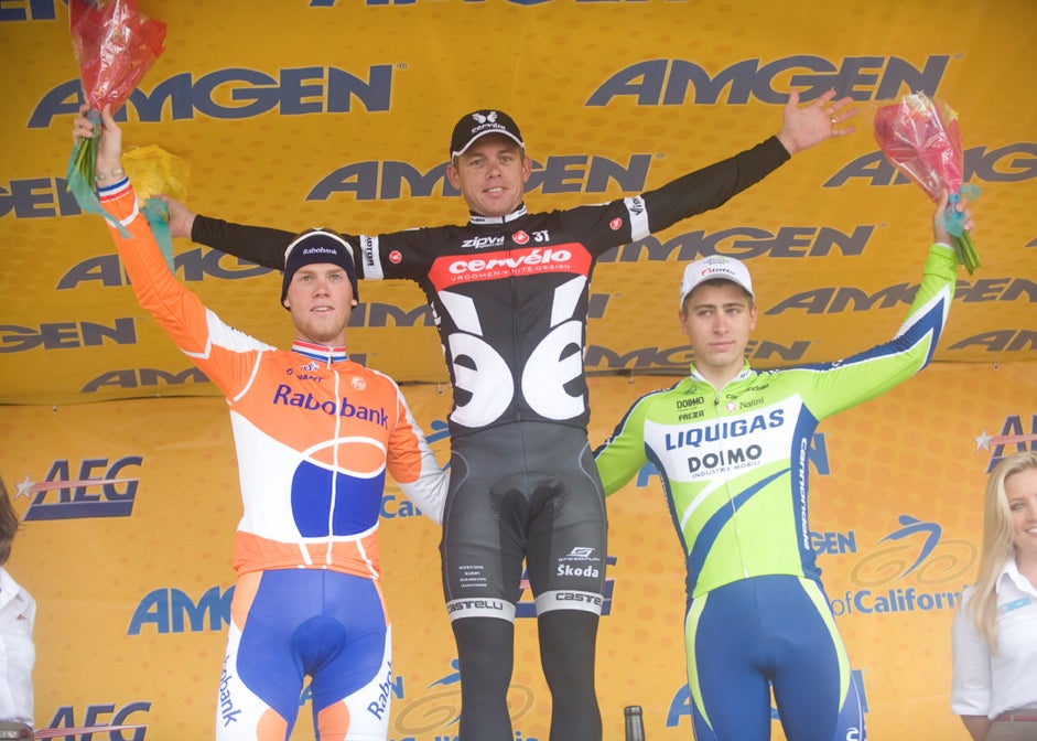 The stage podium: Lars Boom (third), Brett Lancaster (first) and Peter Sagan (second).