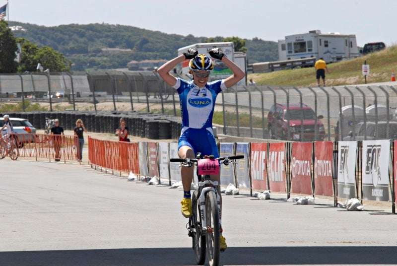 Georgia Gould (Luna Pro Team) celebrates her victory at the Sea Otter cross-country race. She won the event in 2009.
