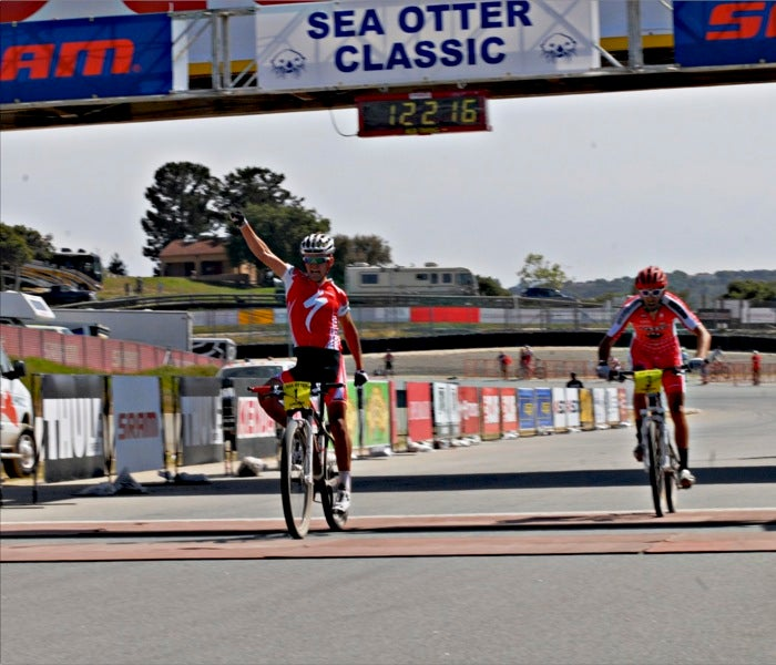 Burry Stander out-kicked Geoff Kabush to win the Sea Otter Classic cross-country race. Photo by Matt Gutowski