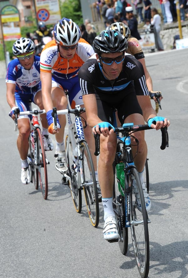 Team Sky's Michael Barry leads the breakaway during a drier part of the race.