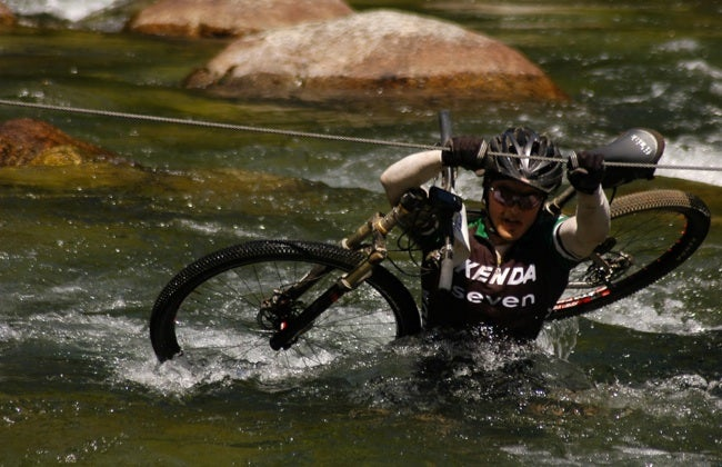 Michael Broderick working a river crossing during the 2010 TransAndes Challenge. Photo by Marcelo Tucuna
