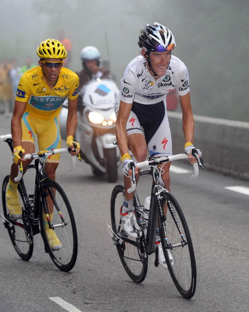 at the tour de france andy schleck wins on the foggy tourmalet but