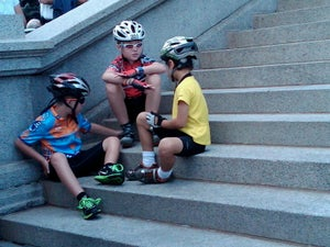 Cyclists of all ages gathered on the steps of Colorado's capitol building.