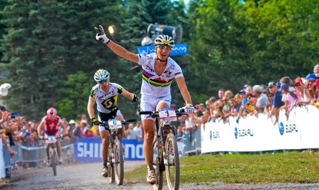 At the Windham World Cup, reigning world champ Nino Schurter finished second, which earned him the World Cup overall title. The Swiss took the rest of the podium with Florian Vogel, middle, and Christoph Sauser.