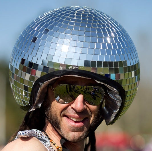 What's a bike race without a disco ball? Photo by Graeme Murray