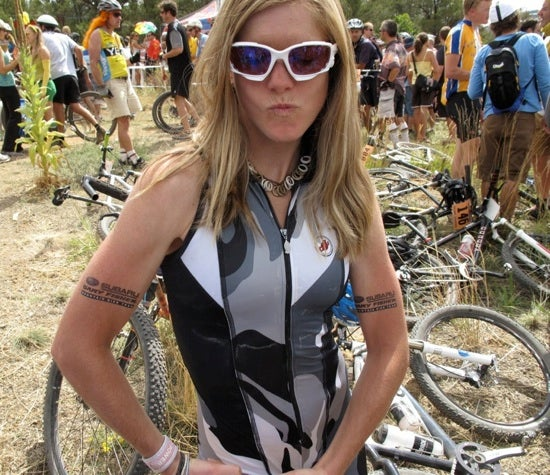 Heather Irmiger rocked a vintage Paola Pezzo skinsuit at SSWC in 2009. Look for a new look in New Zealand this year. (and those are temporary tats on Heather's guns.)  Photo by Frank Mapel