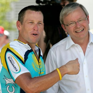 2009 Tour Down Under. Lance Armstrong and Prime Minister Kevin Rudd