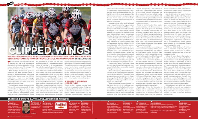 Clipped Wings, from the March 2010 issue of VeloNews magazine