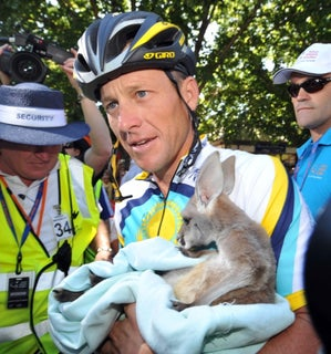 2009 Tour Down Under. Lance Armstrong with baby kangaroo
