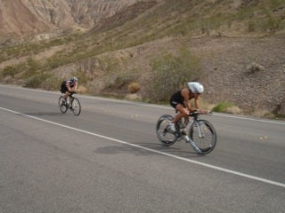Mata on the way to winning her first-ever triathlon — the 2010 Silverman Ironman in Las Vegas.