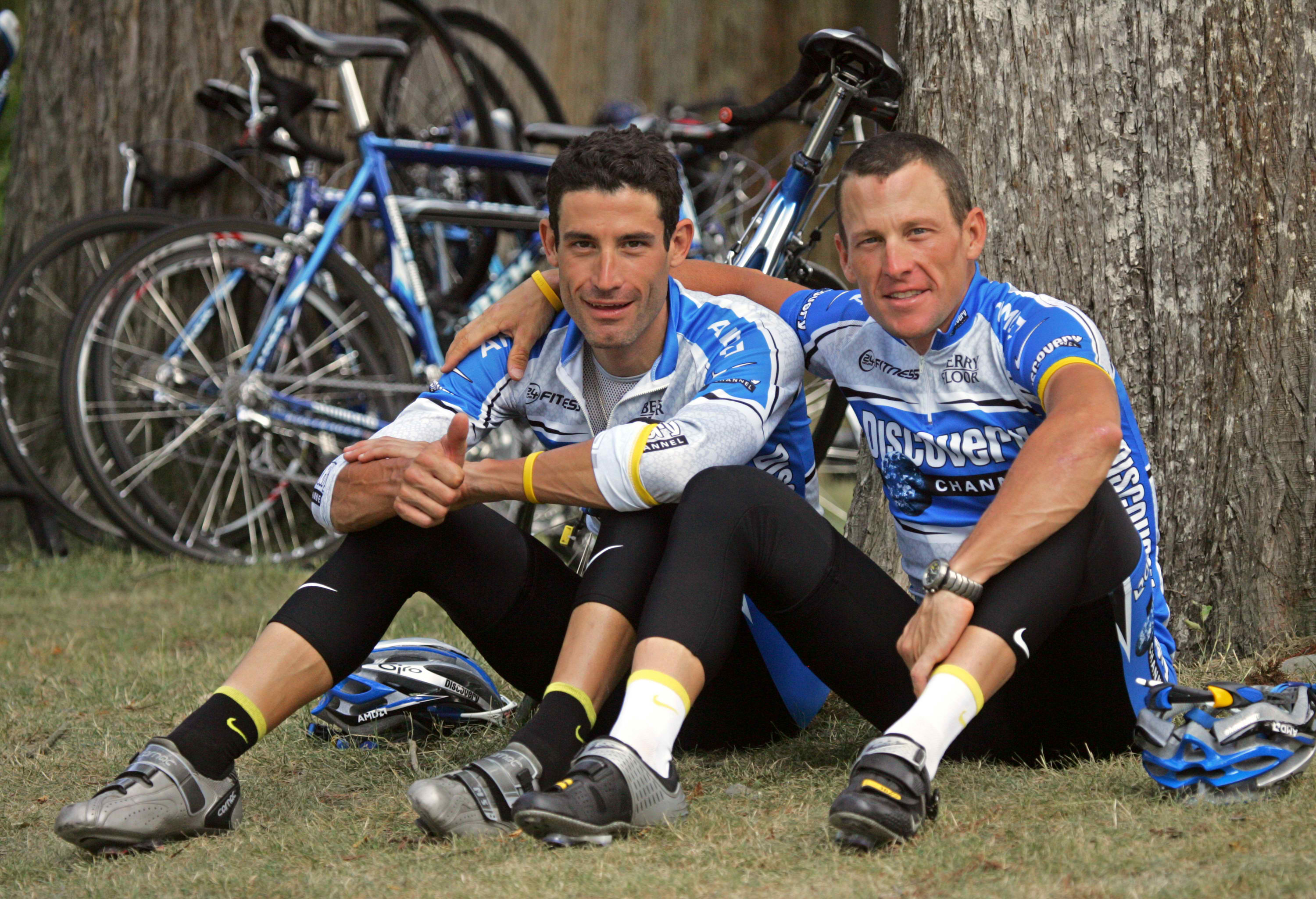 George Hincapie and Lance Armstrong during Discovery Channel days.