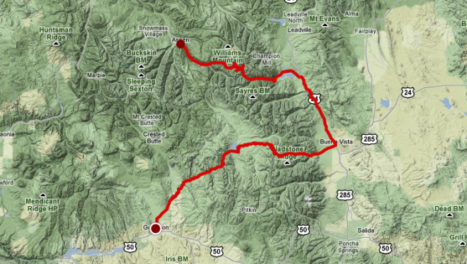 2011 USA Pro Cycling Challenge, stage 2 map