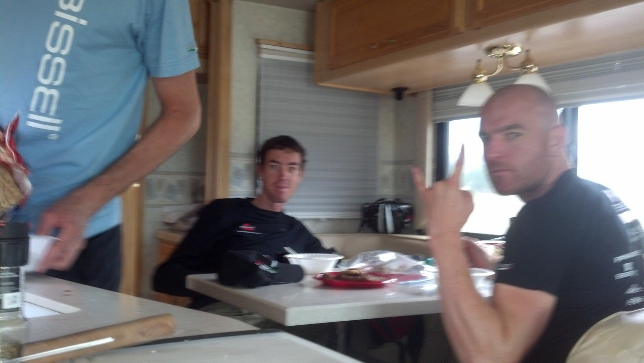Jeremy Vennell and Tommy Nankervis, right at home in the RV after the stage. Photo: Phil Gaimon