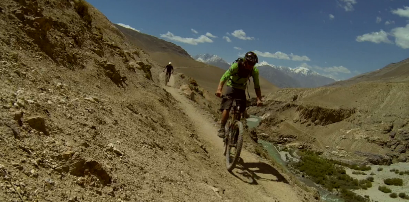 Matt Hunter shows off his Afghan expedition mountain bike