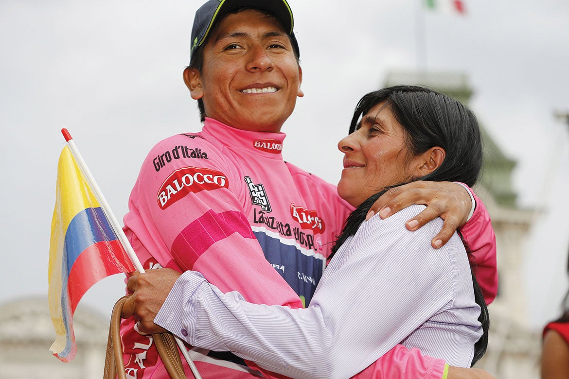 Nairo Quintana and his mother after winning the 2014 Giro d'Italia. Tim De Waele | TDWsport.com