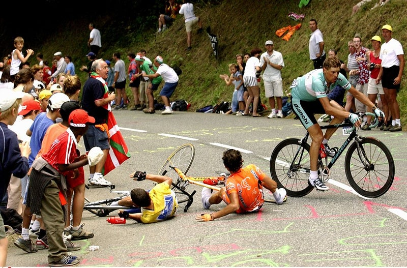 Lance tangled with a musette bag in 2003. It was weird. But Ventoux was weirder. Photo: Tim De Waele   TDWsport.com