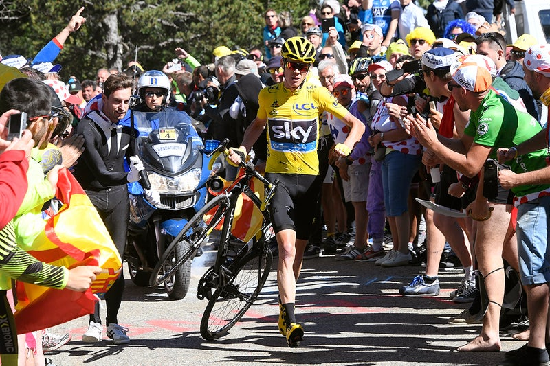 Chris Froome was forced to run after a motorcycle crashed into the back of his bike in a hectic finish on Mont Ventoux. Photo: Tim De Waele | TDWsport.com