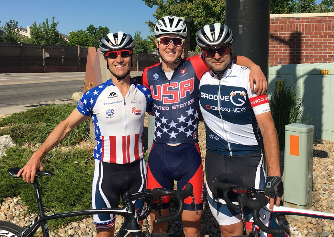 After winning nationals, Daniel (center) celebrated with Nix (left) and Gillett (right)