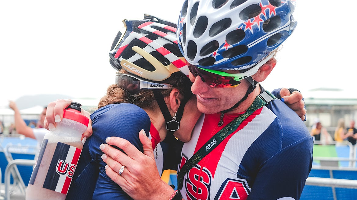 Mara Abbott took comfort from Kristin Armstrong after finishing fourth at the Olympic road race in Rio de Janeiro. Photo: Caley Fretz