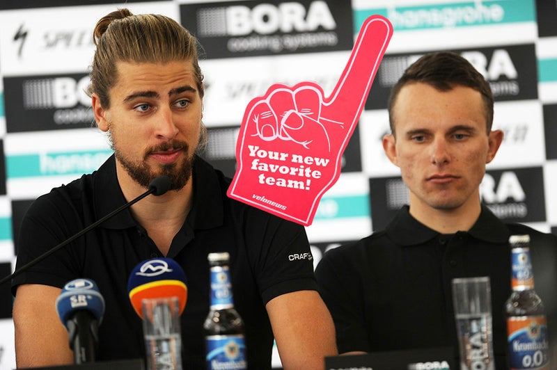 Sorry Rafal Majka, everybody knows that the top star on Bora – Hansgrohe is Peter Sagan. Photo: VeloImages/BORA Hansgrohe