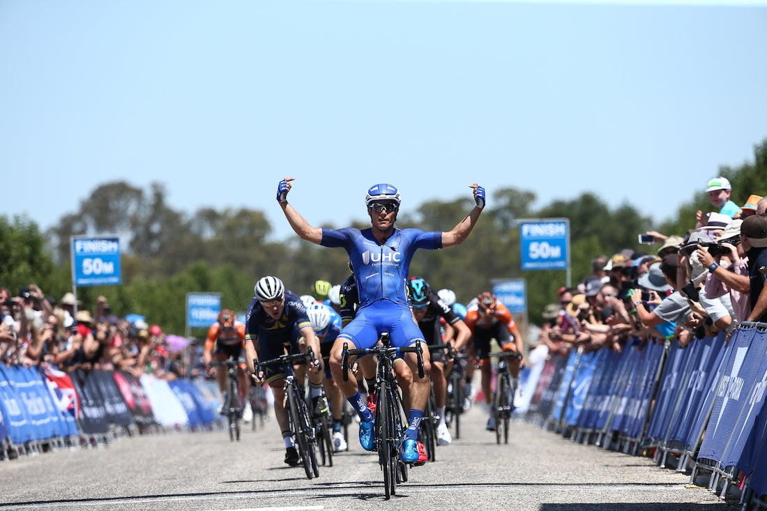 McCabe won a sprint to claim stage 3 of the Sun Tour. Photo: Con Chronis