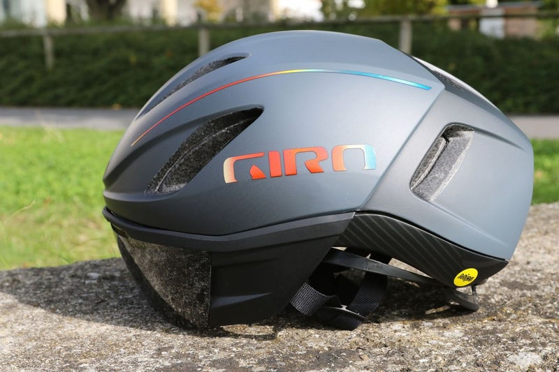 A Zeiss lens attaches magnetically of the front of the helmet and can be flipped and stowed when not in use. Photo: Dan Cavallari | VeloNews.com