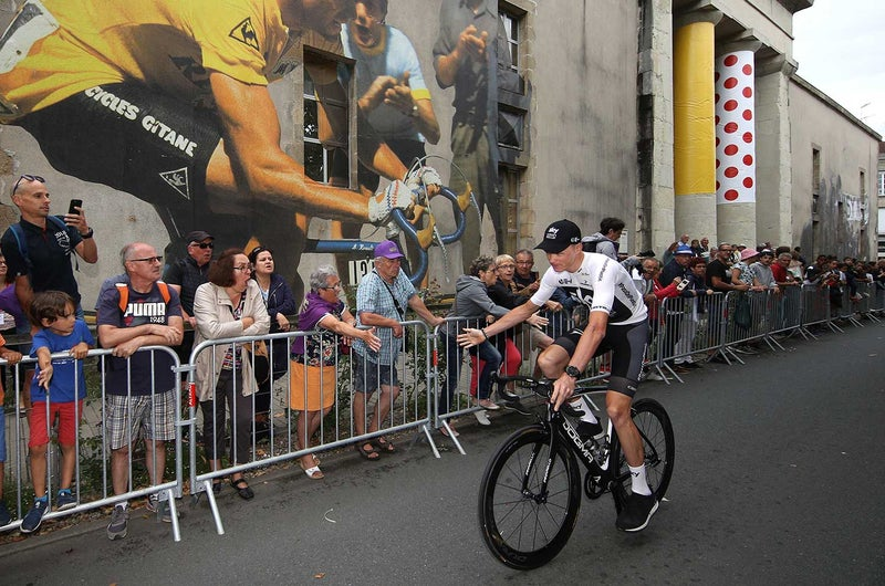 Chris Froome didn't get an entirely warm welcome. Some of the fans in Vendee were heard booing the defending champ