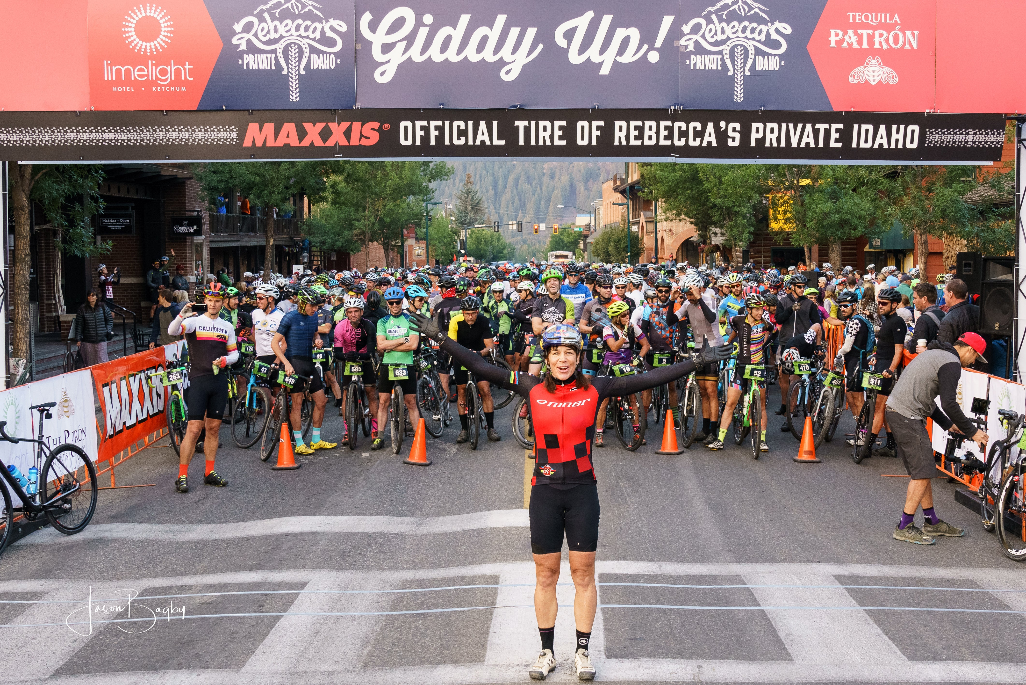 Rebecca Rusch at the start of the 2017 edition of her Rebecca's Private Idaho gravel race