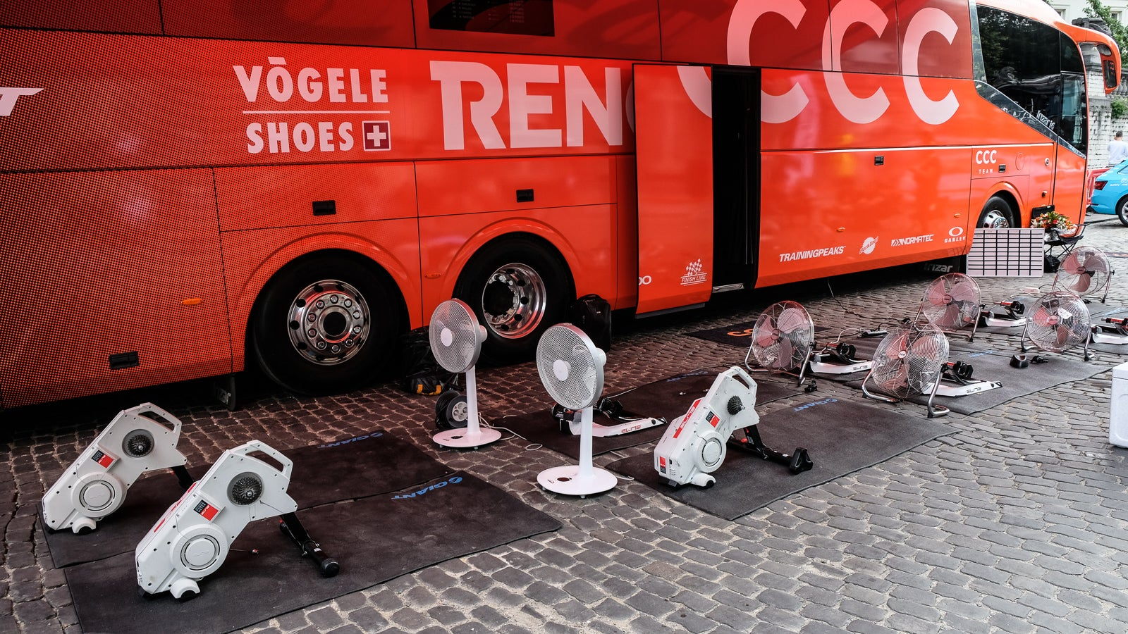 fans to move air while cyclists warm up