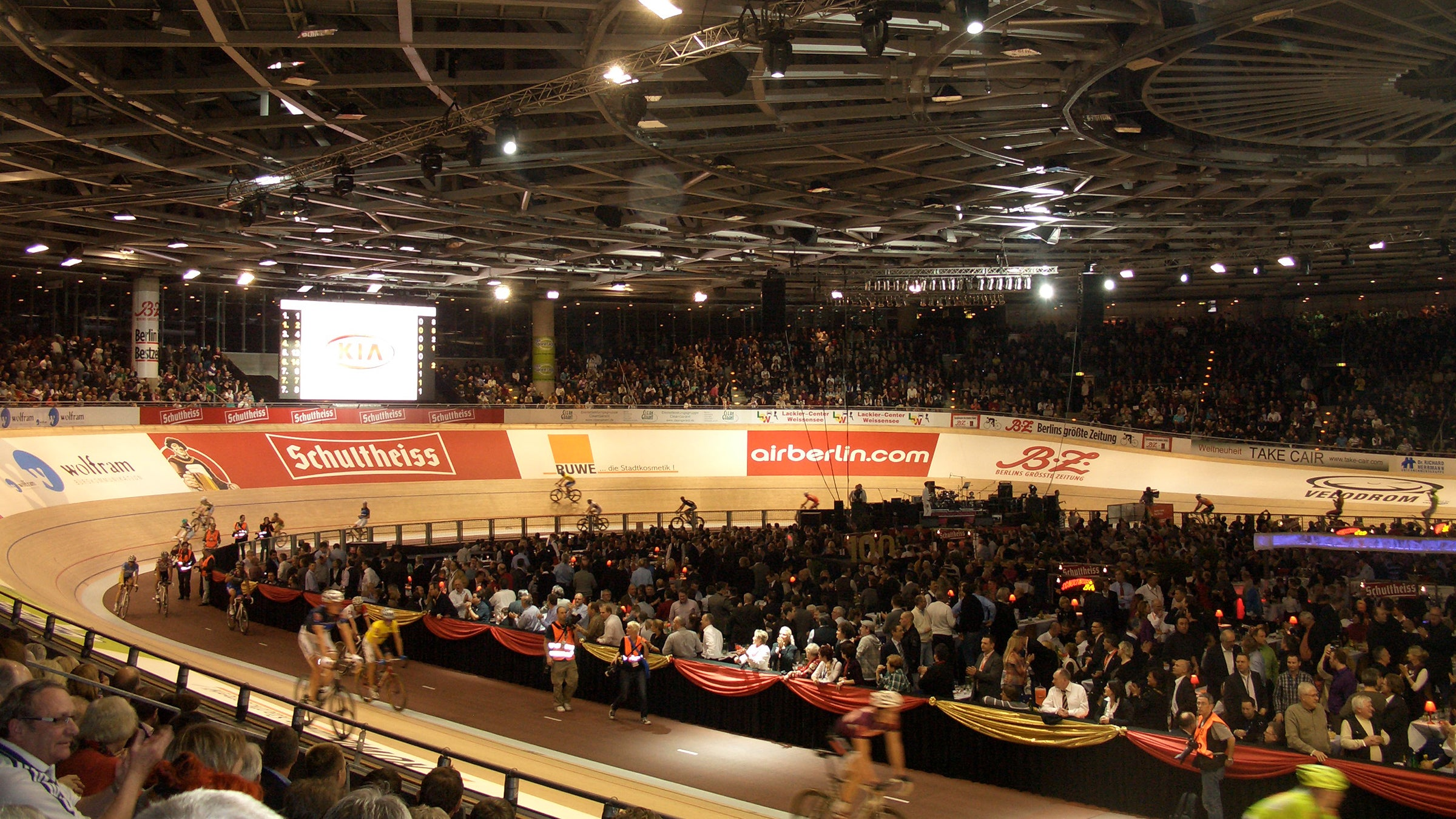 The Berlin Velodrome has long straightaways and steep banking.