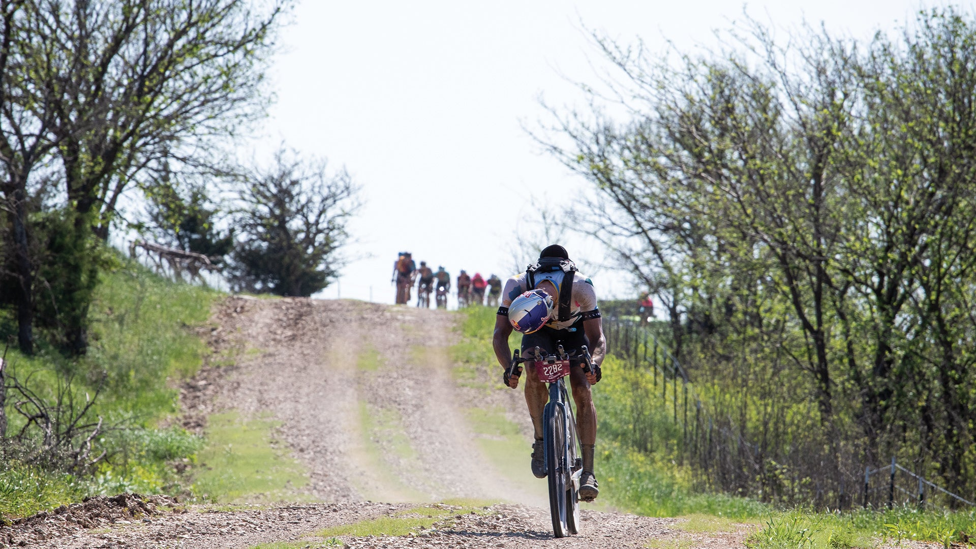 Strickland breaks away at the 2019 Dirty Kanza 200.