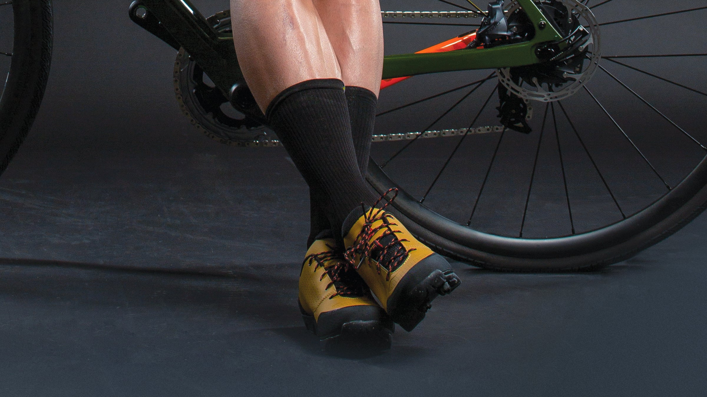 Close-up of gravel cycling shoes and socks.