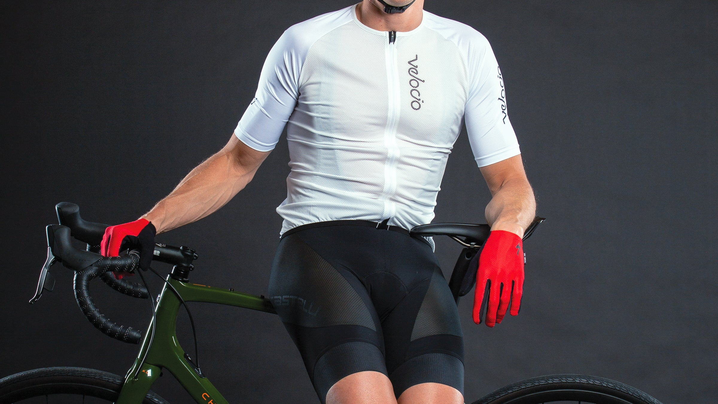 Detail of gravel cycling kit and gloves.