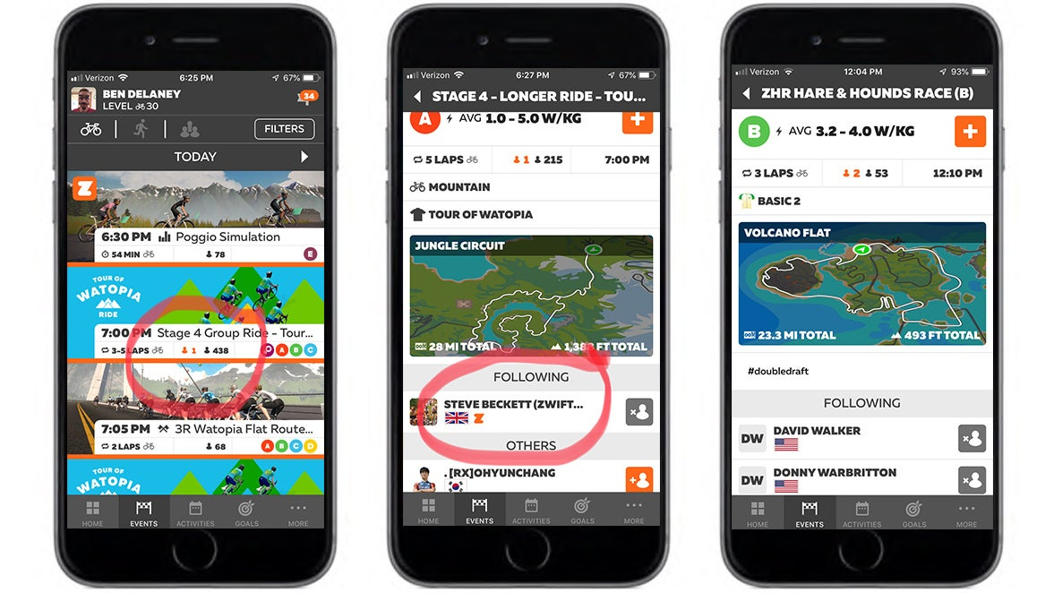 Zwift Companion app on smartphone screens