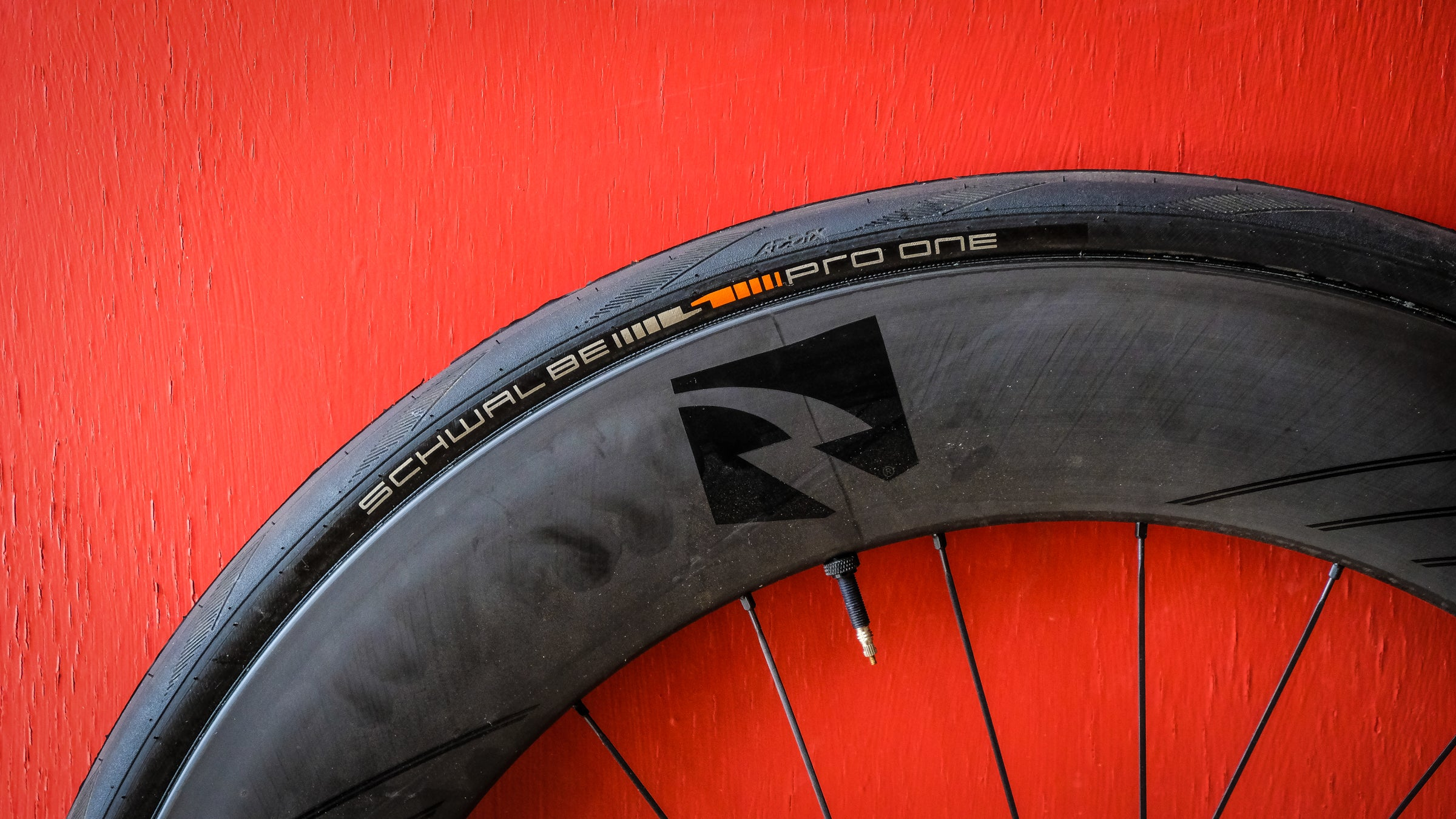 Detail of a Schwalbe tire on a Specialized rim