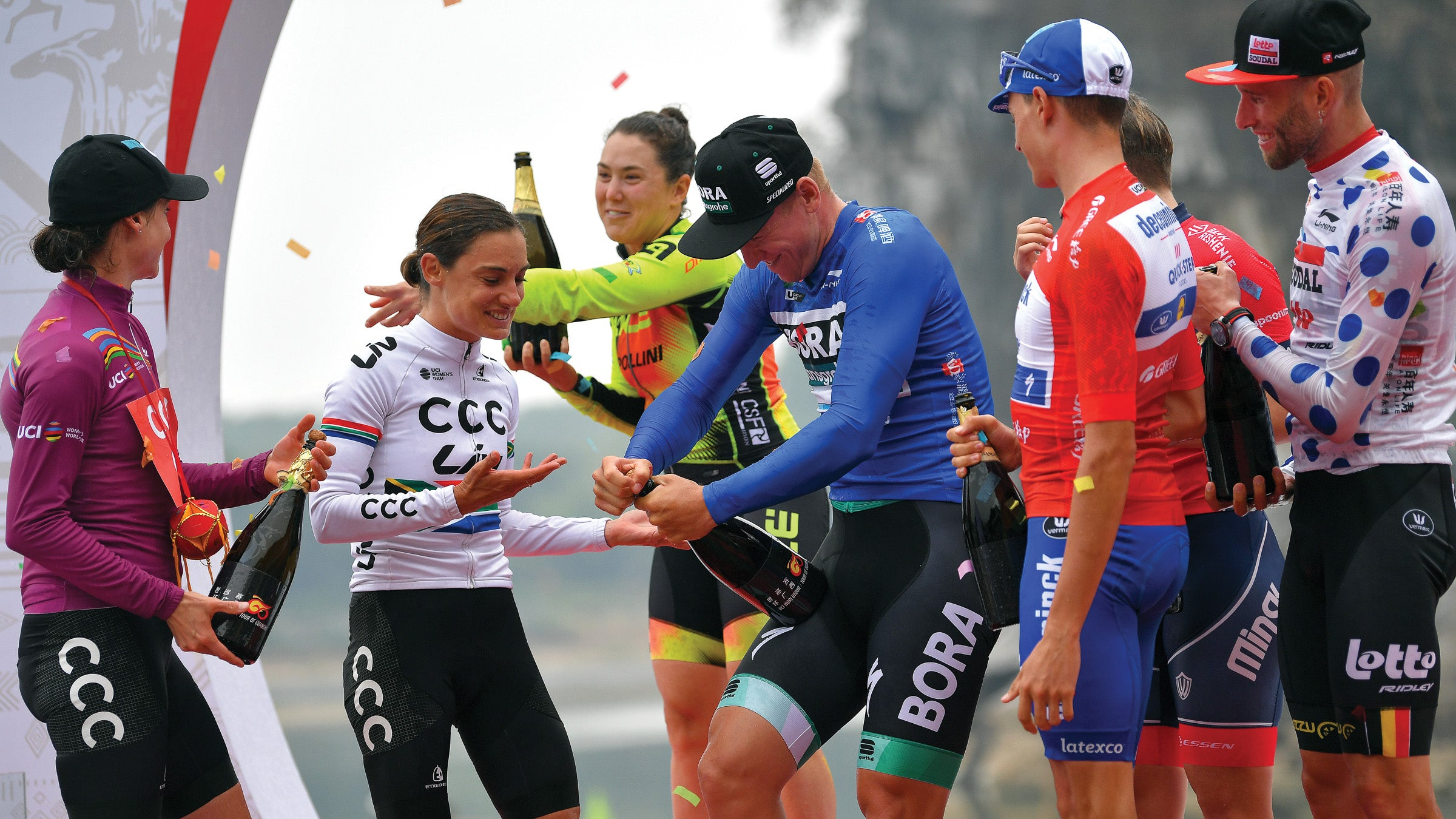 Marianne Vos, Ashleigh Moolman, and Chloe Hosking on the podium at the 2019 Tour of Guangxi in China.