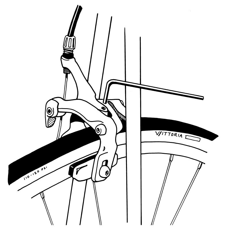 Turn a setscrew with a 3mm hex key to center a Shimano dual-pivot brake caliper