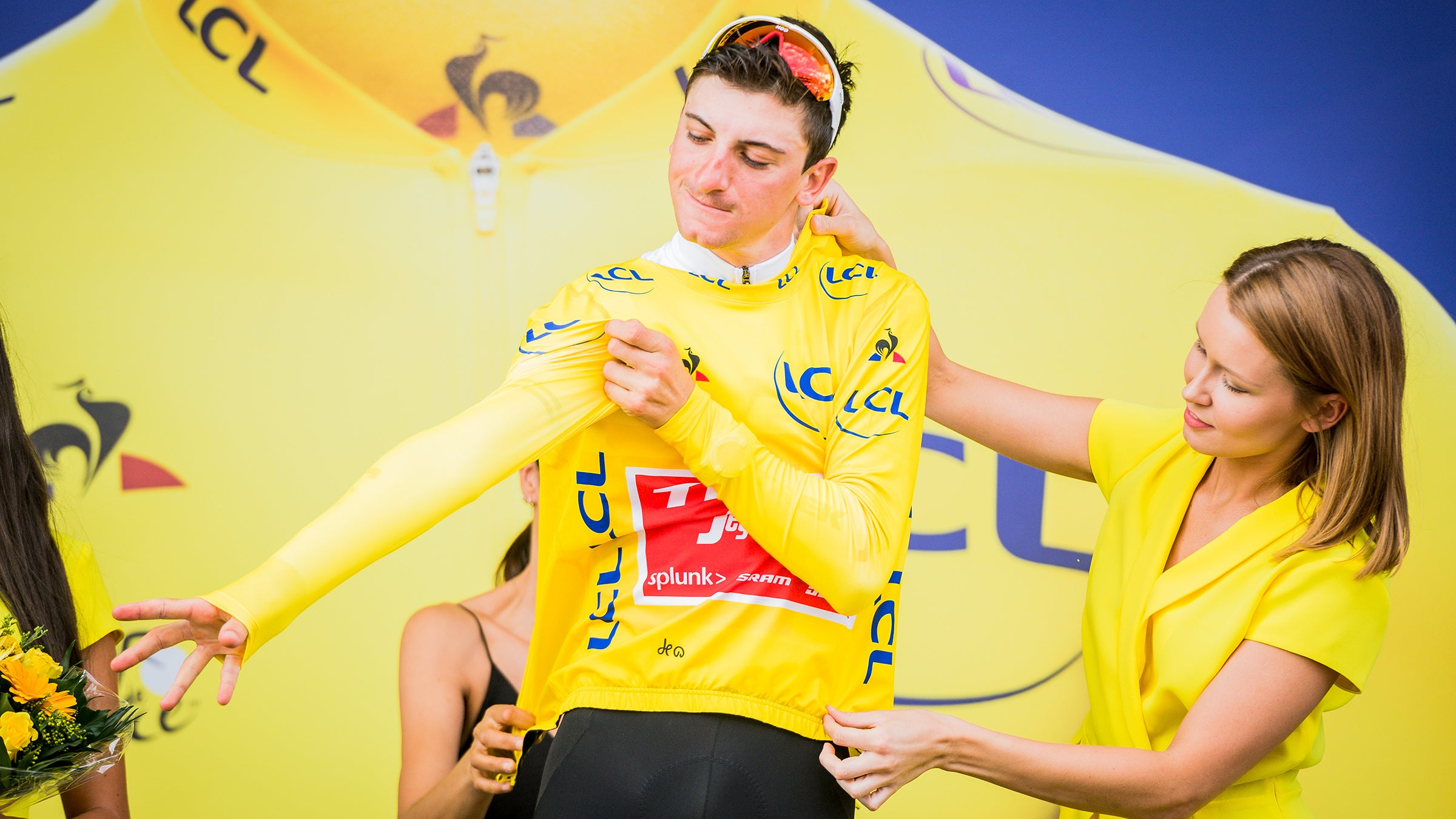 Giulio Ciccone donning the yellow jersey
