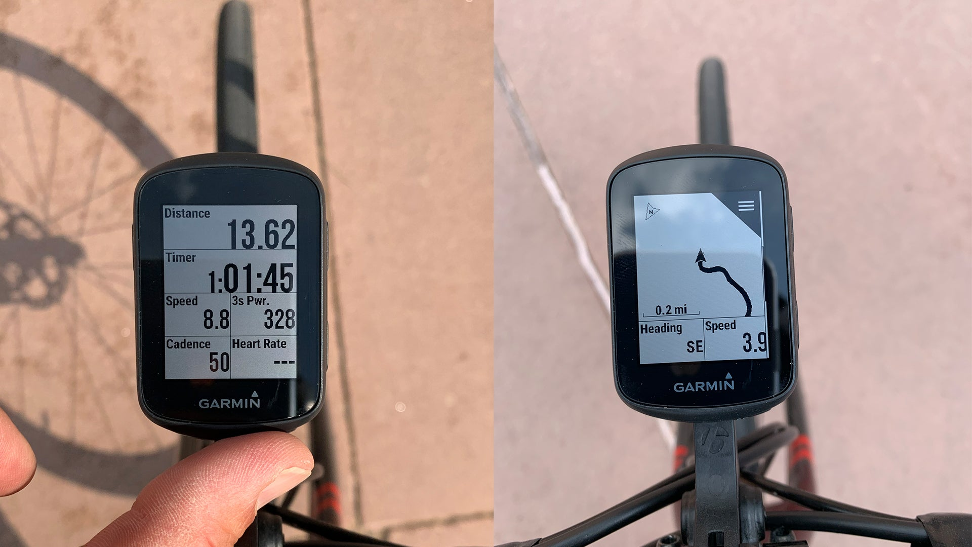 Left image is shot of Garmin Edge screen with stats displayed, right is map with direction and speed