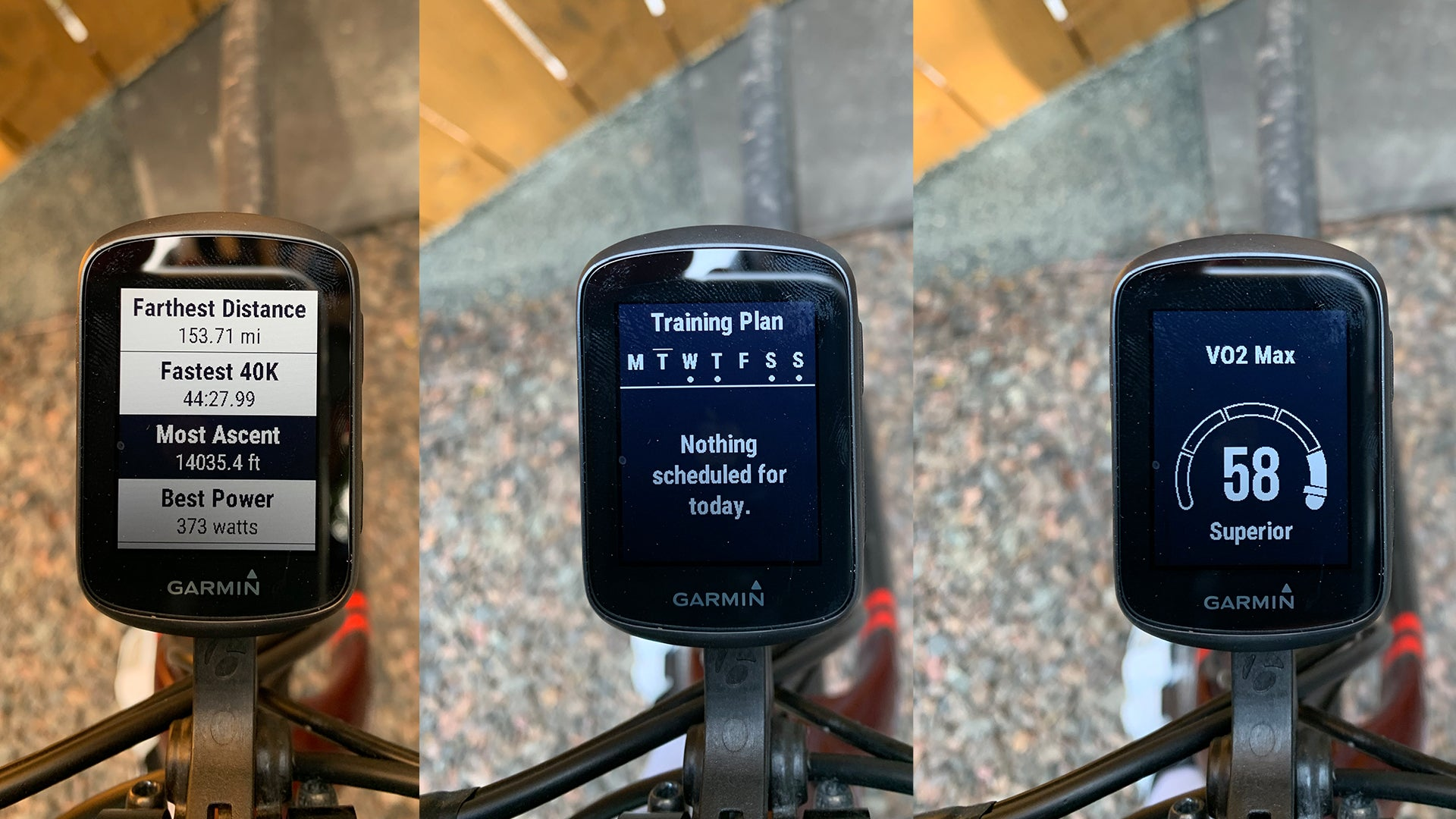 3 side-by-side images showing Garmin Edge displaying all-time stats, Training Plan integration, and VO2 max stats