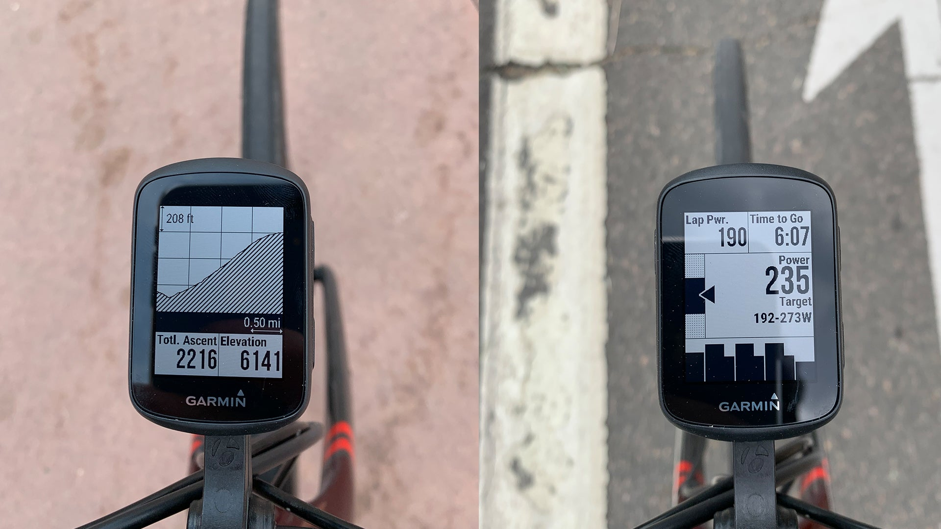 Garmin Edge 130 Plus showing elevation graph in left image, power stats on the other