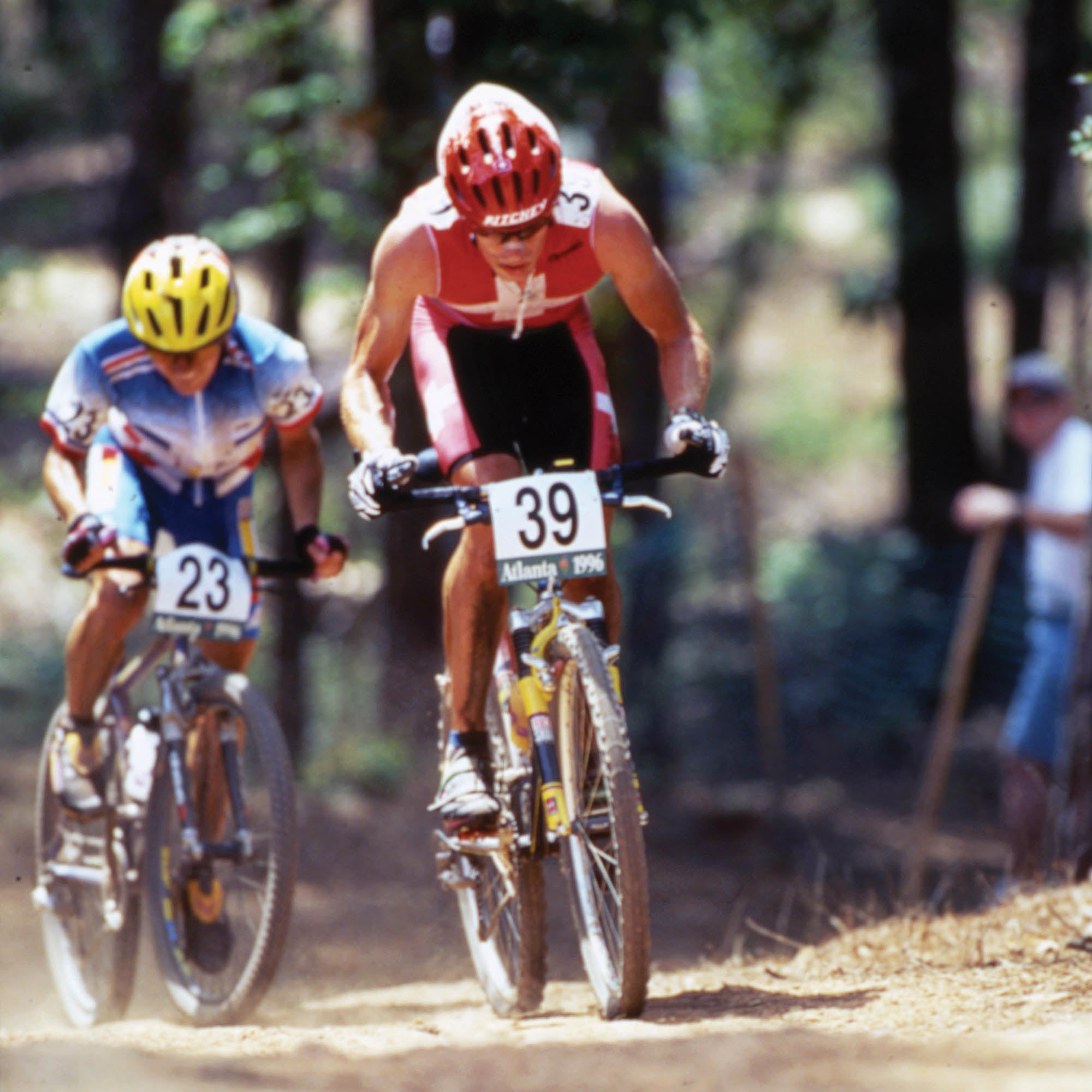 Frischknecht competing in mountain bike in the Olympics
