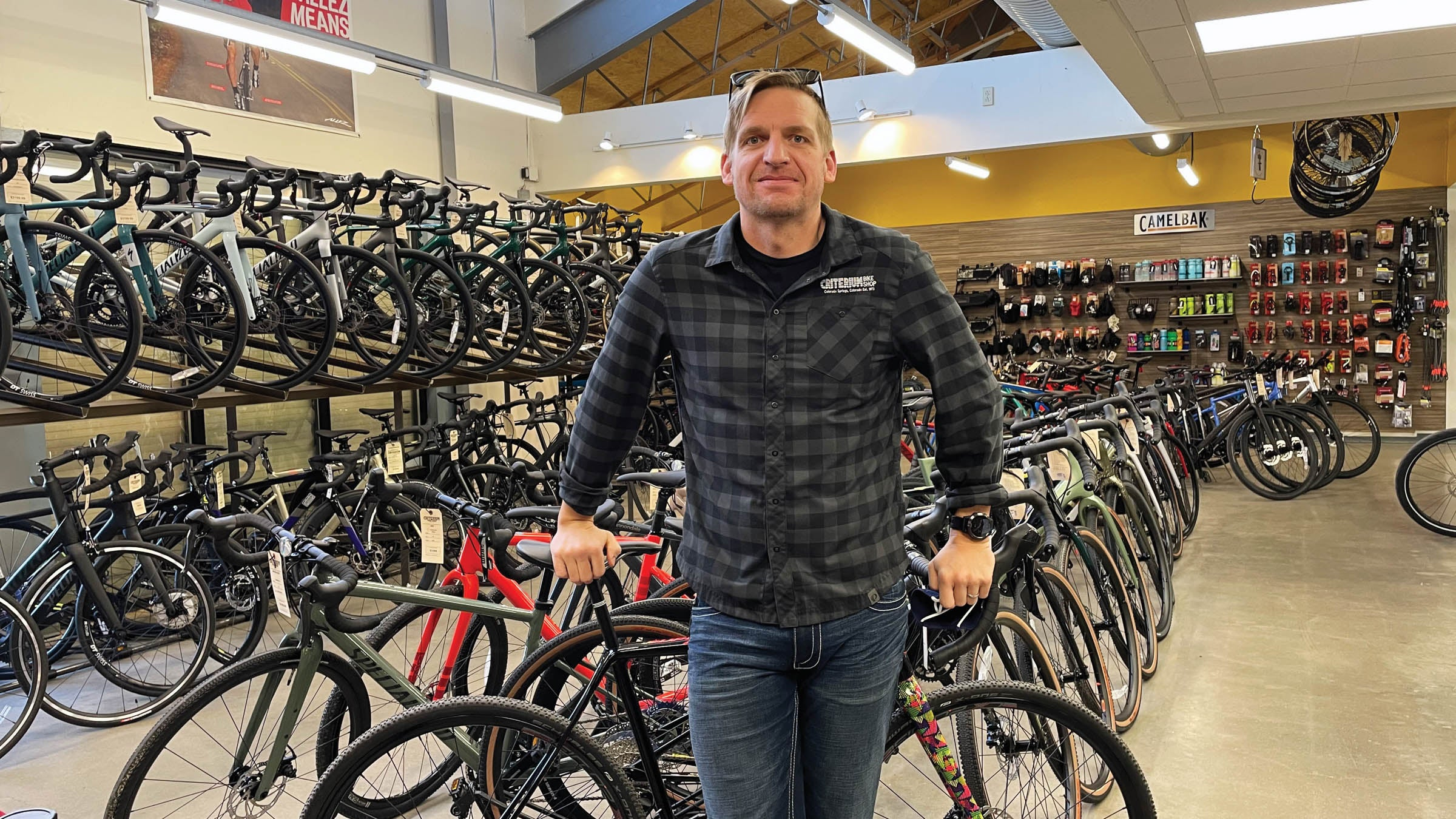 Ponsor in front of rows of bicycles