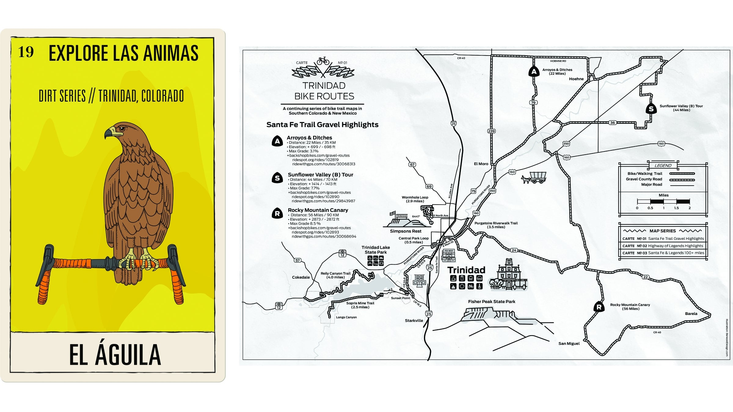 Poster art and gravel map of Trinidad