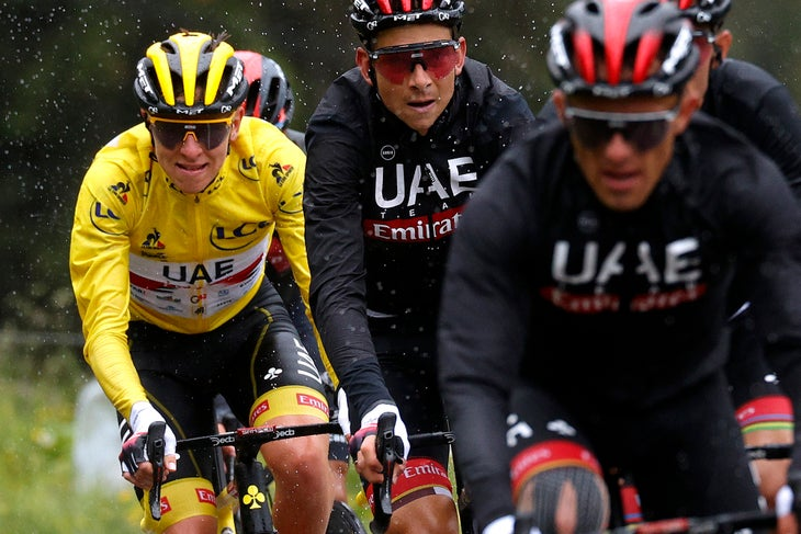 TIGNES, FRANCE - JULY 04: Tadej Pogačar of Slovenia and UAE-Team Emirates yellow leader jersey, Davide Formolo of Italy and UAE-Team Emirates during the 108th Tour de France 2021, Stage 9 a 144,9km stage from Cluses to Tignes - Montée de Tignes 2107m / @LeTour / #TDF2021 / on July 04, 2021 in Tignes, France. (Photo by Chris Graythen/Getty Images)
